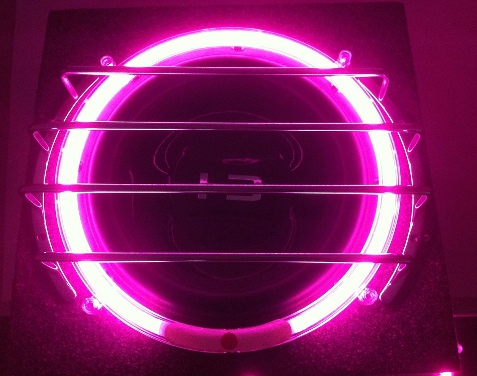 10 Inch Pink Neon Speaker Rings Glow Subwoofer