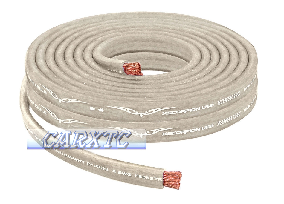 4 Gauge Flat Power Ground Cable - 10ft Platinum: OFC Copper 1666 ...