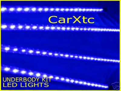 4pc BLUE UnderBody LED Kits Glow in Street w/ Neons FX