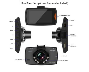 "Dual Front & Rear Dash Cam HD 1080P 2.7"" Video Recorder Dashboard Camera"