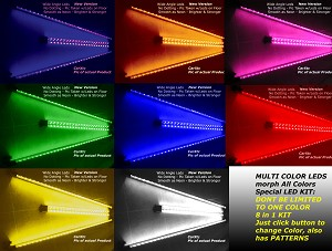 7-COLOR 4pc Car UnderBody LED Kits Glow in Street (Neon Ground Effects) Blue/Red/Green/Purple/Pink/White/Yellow