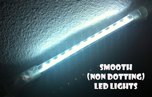 14 INCH WHITE LED RODS w/12 LEDs Glow N Street FX